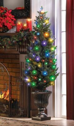 Battery Operated Artificial Christmas Tree Twinkle Lights Indoor Outdoor with Urn Base