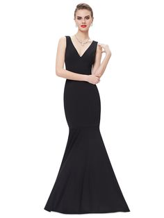 Clean and Simple Lines! Elegant Sexy V-neck Black Fishtail Long Party Prom Dress #Elegant #Sexy #V_Neck #Evening #Gown #Maxi #Dress #Fashion