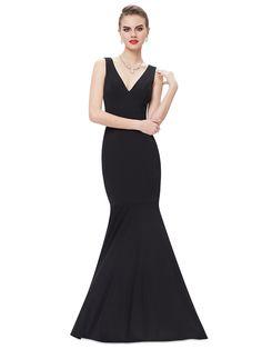 Sexy V-neck Black Fishtail Long Party Prom Dress - Ever-Pretty