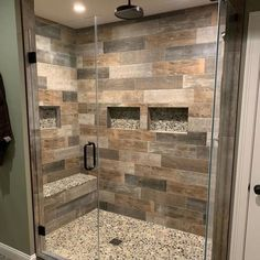 💥💥custom shower and tile floor with radiant heat by ! Check out our customer room gallery for more wood-look tile and shower inspiration. Rustic Bathroom Shower, Wood Tile Shower, Rustic Master Bathroom, Master Bathroom Shower, Rustic Bathroom Designs, Rustic Bathroom Vanities, Rustic Bathrooms, Bathroom Interior Design, Small Bathroom