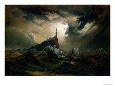 Carl Blechen, Stormy Sea with Lighthouse (Stürmische See mit Leuchtturm Nocturne, Pagan Metal, Carl Blechen, Romanticism Paintings, Dark Romanticism, Stürmische See, Framed Art Prints, Canvas Prints, Sea Storm