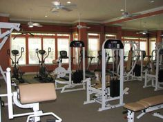 Fitness Center offers free weights and all cardio machines have cable TV screens  www.courtneybend.com