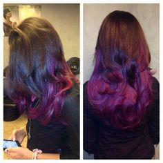 purple ombre i wants her hair Wilson hair color and cut! Love Hair, Gorgeous Hair, Beautiful, Purple Hair, Ombre Hair, Purple Ombre, Hair Doo, Hair Heaven, Hair Hacks