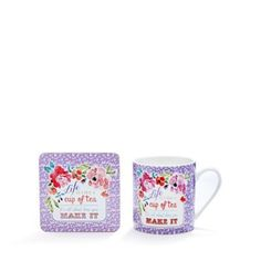 At home with Ashley Thomas Fine china 'Life is a cup of tea' mug and coaster…