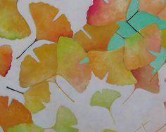 Hellenne Vermillion Art: Pastel Gingko Leaves