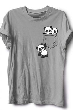 For Panda Lovers Cute Kawaii Baby Pandas In Pocket T-Shirt Giant Panda Fan Art SkizzenMonster This casual funny apparel features three cute playful baby panda bears in cutest kawaii anime style drawing playing around your fake breast pocket Shirt Designs, Shirt Print Design, Baby Panda Bears, Baby Pandas, Panda Outfit, Panda Shirt, Paint Shirts, Fabric Paint Shirt, Panda Party