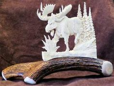 Gift Idea - Small Moose Antler Carving-  Utilizing antlers that are naturally shed by moose each spring, and a variety of drills, the artist captures the natural beauty of wildlife. http://rusticartistry.com/product/antler-carving-small-moose/
