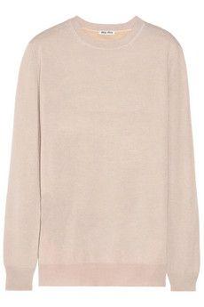 Miu Miu Ruffle-trimmed cashmere and silk-blend sweater | NET-A-PORTER