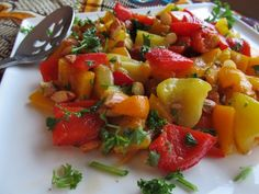 Tapas Style Roasted Peppers and Almonds