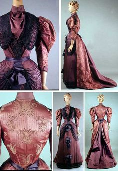 1893 Dress, Bourdereau Veron et Cie, Paris. Purple silk satin and brocade. Bodice made of paisley brocade, with a standing collar, beads swagged across chest. Skirt has center panel of satin, chenille trim, open center back pleat. Via Kent State University.