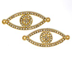 2 PC Peace Eye Gold Tone Bracelet Connector, Necklace Charms With Rhinestones. 50mmX20mm by AgouraBeads on Etsy