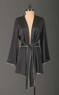 silk robe with piping detail