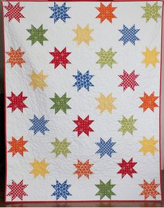 Stars Abound a PDF Quilt Pattern Throw Size by aBrightCorner Star Quilt Blocks, Star Quilt Patterns, Star Quilts, Scrappy Quilts, Block Quilt, Quilt Baby, Quilting Projects, Quilting Designs, Quilting Ideas