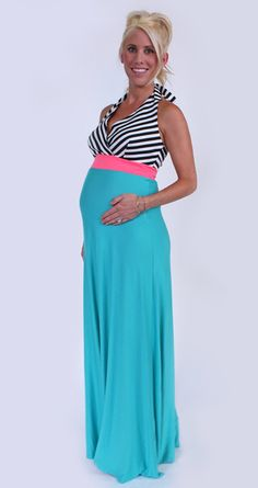 Aqua and Black Stripe Maternity Halter Maxi Dress. Great for every day, babymoon, wedding, or baby shower. Maternity Wear, Maternity Fashion, Spring Maternity, Halter Maxi Dresses, Black Stripes, Aqua, Style Inspiration, Skirts, How To Wear