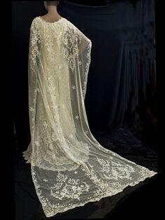 Henri Bendel custom made wedding dress from antique lace, 1970s.
