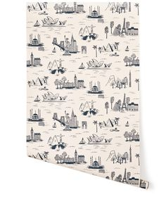 Hygge & West - Cities Toile (Parchment) - Love this for a boy's room; #H&WPINTOWIN