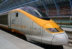 How to buy cheap train tickets to Europe:  A Eurostar about to leave St Pancras International...