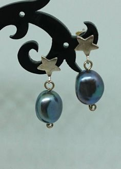Peacock Pearl Drop Earrings: Sterling Silver stars Baroque