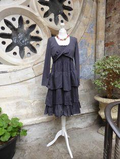 Beatuiful Purple Wrap Dress . Braintree Clothing, Ethical Clothing, Organic cotton dress. Pomegranate Clothes Shop, Ladies Clothes Shop, Clifton, Bristol