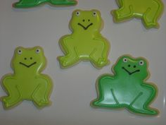 Frogs , originally uploaded by . These are my latest cookies. I have always wanted to make frog cookies for my husband . Fourth Birthday, Birthday Parties, Frog Food, Frog Cookies, Cookie Jars, 3 Things, Cookie Decorating, Yoshi, Cool Kids