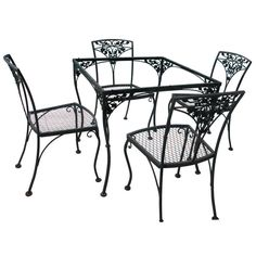Vintage Woodard Hollywood Regency Floral Motif Iron Outdoor Garden Set at 1stdibs
