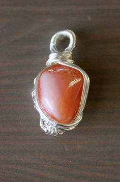 Apricot Agate Pendant Wire Wrapped Stone Necklace by ParagonStones