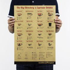 Большой каталог эспрессо/кофе/крафт-бумага/бар плакат/Ретро Плакат/декоративная…