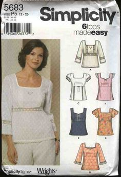 Simplicity Sewing Pattern 5683 Misses Size 4-10 Easy Pullover Empire Waist Summer Tops  --  Simplicity+Sewing+Pattern+5683+Misses+Size+4-10+Easy+Pullover+Empire+Waist+Summer+Tops