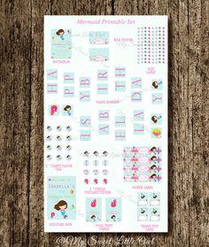Mermaid Printable Party package - pink mermaid birthday - mermaid party printable - bird label -SUPER DEAL!
