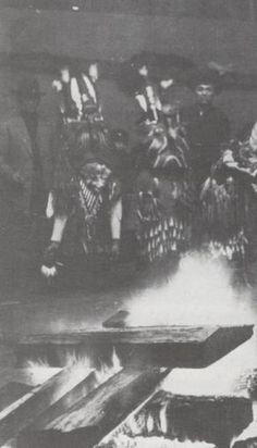 2 Duwamish ''Skhwaikhwey'' Mask dancers  January 1915 dedication of Tulalip Reservation's Longhouse  (Vi Hilbert photo & information)