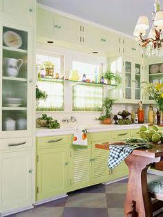 glass shelves over windows | Kitchen Window Treatments - Bargain Kitchen Curtains