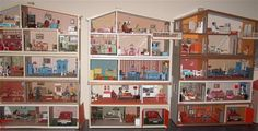 3 vintage Lundby dolls houses