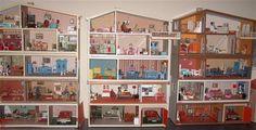 3 vintage Lundby dolls houses