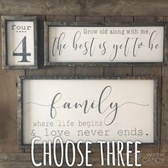 Farmhouse Signs Set, family sign, family est sign, grocery sign, number sign, coffee sign, gallery wall sign, rustic wood signs
