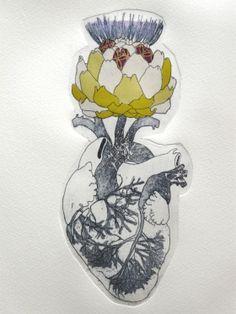 Gravures & Estampes | Jeanne Picq | Coeur d'artichaut | Tirage d'art en série limitée sur L'oeil ouvert