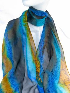 SILK CHIFFON SCARF Hand Painted by ShariArts on Etsy, $34.00
