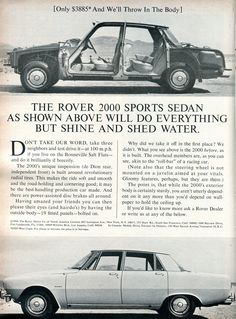 Rover 2000 ad from 1965 Rover P6, Car Rover, Auto Rover, Land Rover Defender 110, Cars Uk, Sports Sedan, Car Posters, Car Advertising, Commercial Vehicle
