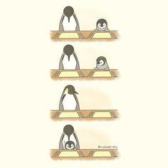 Cute Animal Drawings, Kawaii Drawings, Cute Drawings, Pretty And Cute, Cute Love, Cute Funny Animals, Funny Cute, Cute Backgrounds For Phones, Penguin Cartoon