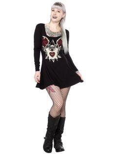 "Women's ""Albino Bat"" Skater Dress by Sourpuss Clothing (Black) #inkedshop #skater #dress #design #art #Goth"