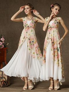 Ericdress White Floral Print Double-Layer Sleeveless Dress 2