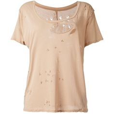 Unravel destroyed T-shirt (810 BRL) ❤ liked on Polyvore featuring tops, t-shirts, beige, distressed t shirt, beige top, ripped tee, cotton tee and beige t shirt