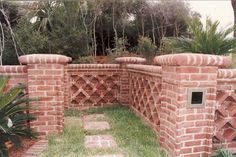 Georgetowne Handmade Brick Sea Wall on Hilton Head. Note special triangular end brick to form unique lattice work wall with copings.