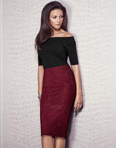 Michelle Keegan Embossed Pencil Skirt - Lipsy love Michelle Keegan Autumn Collection