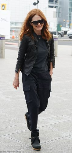 Class act: The 54-year-old star managed to look effortlessly cool in her casual all-black ...