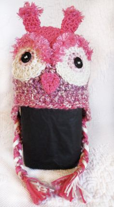 Pink Owl Crochet Knit Hat with Earflaps by ChitlinDesign on Etsy, $28.00