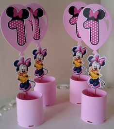 Mickey Mouse Birthday Cake, Mickey Party, Minnie Mouse Party, Mouse Parties, Mickey Mouse Crafts, Minnie Mouse Decorations, 1st Birthdays, 1st Birthday Parties, Baby Crafts