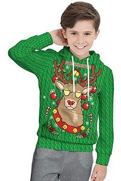 Beautiful Meeyou Kids Christmas Hoodies Sweatshirt,Ugly Christmas Dress Up for Boys/Girls reindeer christmas jumper. ($19.99) alltoenjoyshopping from top store