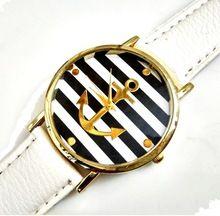 New Navy Anchor Ženeva Platinum hodinky Žena Geneva Style PU kůže Náramkové hodinky ženy Sailor Staromódní Dropshiping (Čína (pevninská část))