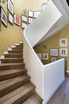 The idea for the frames on the staircase was borrowed from the Ralph Lauren shop in Paris.