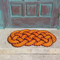 "Rope Doormat in Orange, Navy Blue & Burgundy / Front door or entry mat / Rope rug / Wedding gift / Nautical Knot / Beach Decor / 29"" x 15"""